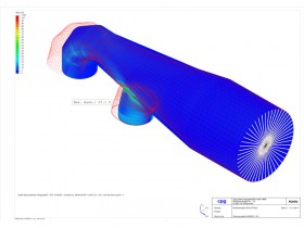 FEM of piping section with boundary point displacement and stress analysis
